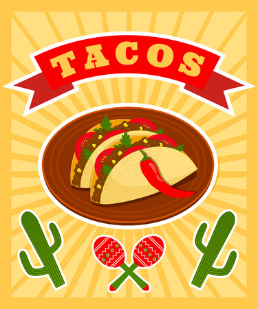 bright vector poster with illiustration of traditional mexican dish - tacos Иллюстрация