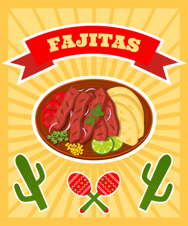 tex: bright vector poster with illiustration of traditional mexican dish - fajitas
