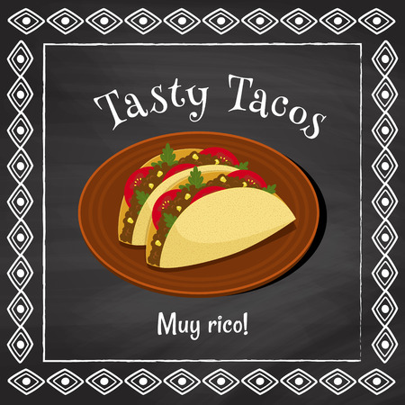 plackard: vector poster template on a chalkboard background with tacos illustration and spanish text muy rico which is translated as very tasty