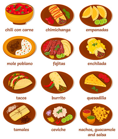 big set of vector illustrations of the post popular and prominent mexican food: chili con carne, chimichanga, empanadas, mole poblano, fajitas, enchilada, tacos, burrito, quesadilla, tamales, ceviche, nachos, guacamole, salsa