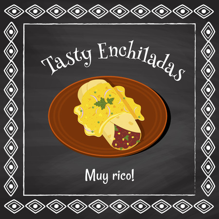 vector poster template on a chalkboard background with enchilada illustration and spanish text muy rico which is translated as very tasty Illustration