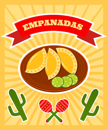 plackard: bright vector poster with illiustration of traditional mexican dish - empanadas