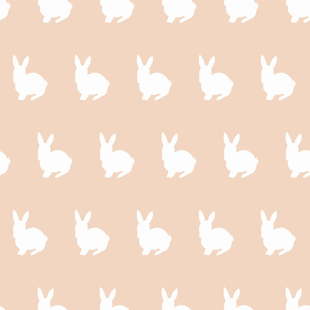 vector seamless pattern with images of rabbits silhoettes on tender vintage color background Illustration