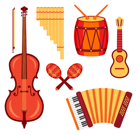 set of musical instruments traditionaly used in Latin America: violoncello, charanga, drums, pan flute and accordion
