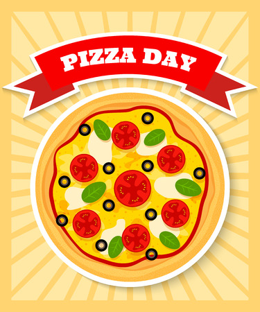bright and colourful poster template for pizza day