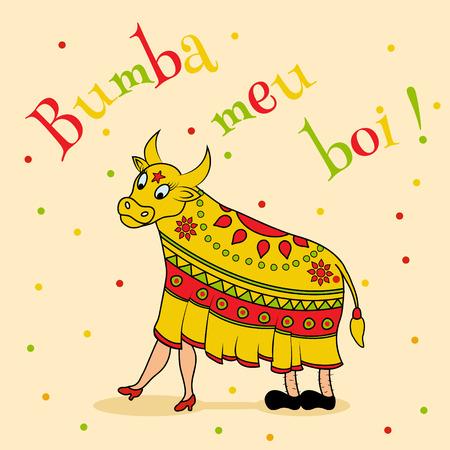 caricatura mexicana: plantilla del cartel del vector de la celebraci�n brasile�a tradicional - Bumba meu boi Vectores