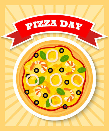 seafruit: bright and colorful poster template for pizza day with image of seafruit pizza