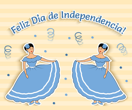 latin american girls: Funny vector illustration where two girls from Argentina celebrate Independence day. The text is translated as Happy independence day!
