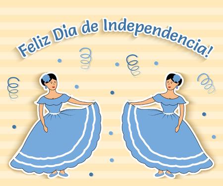 """bandera mexicana: Ilustraci�n vectorial divertido en el que dos chicas de Argentina celebran D�a de la Independencia. El texto es traducido como """"D�a de la Independencia feliz!"""" Vectores"""