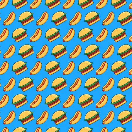 burger cartoon: vector seamless pattern of funny cartoonish hot dogs and burgers on blue background Illustration