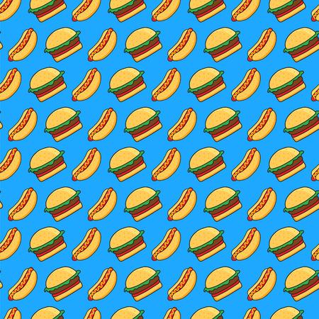 hamburguesa: vector sin patr�n de perros calientes dibujos animados divertidos y hamburguesas en fondo azul Vectores
