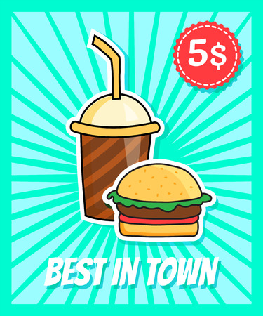 coke: vector poster in retro style with burger and coke