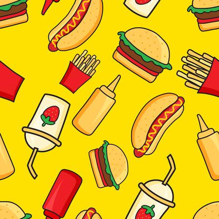 aliments droles: vecteur seamless drôles de plats de restauration rapide caricaturales sur fond jaune