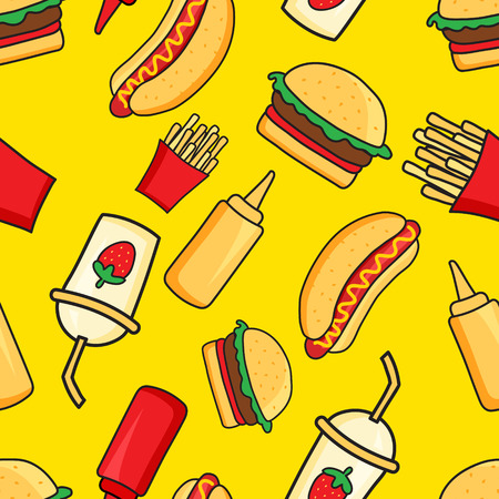 burger and fries: vector seamless pattern of funny cartoonish fast food dishes on yellow background Illustration
