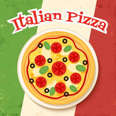 plackard: vector poster template with image of tasty italian pizza on italian flag background Illustration