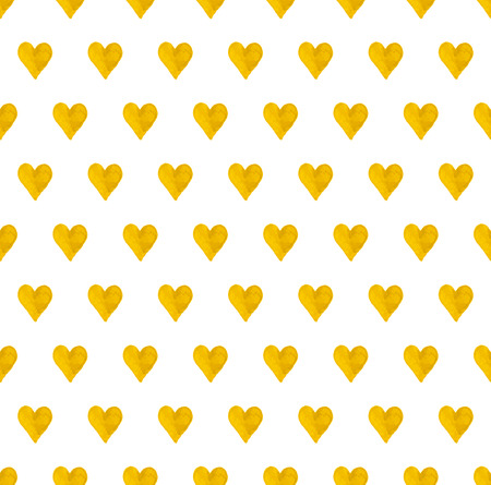 heart design: vector seamless pattern with images of cute hand drawn gold hearts on white background