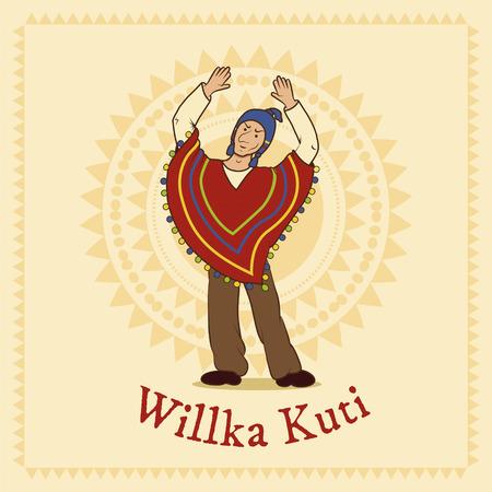 quechua: vector illustration of traditional aymara celebration in Bolivia Willka Kuti - return of the sun Illustration