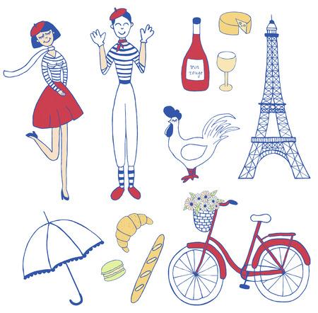 conjunto de iconos de París inspiró la vendimia: Chica francés, mimo, la torre Eiffel, bicicleta, macarrón, croissant, gallo