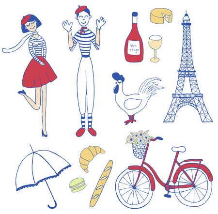 set of Paris inspired vintage icons: french girl, mime, the eiffel tower, bicycle, macaron, croissant, cockerel Illustration
