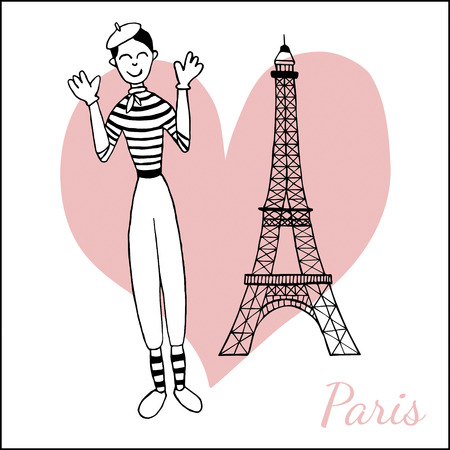 mime: Paris inspired postcard template with images of funny mime and the Eiffel tower