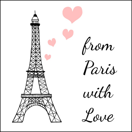 eiffel: Paris inspired postcard template with images ofthe Eiffel tower and hearts