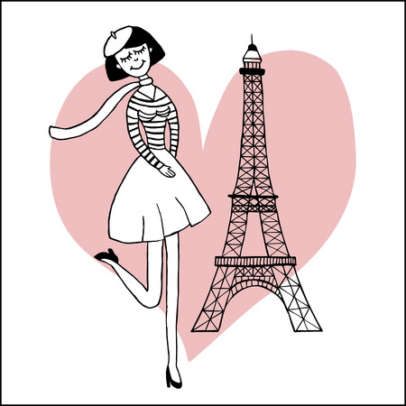 Paris inspired postcard template with images of beautiful girl and the Eiffel tower Illustration