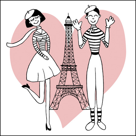 mime: Paris inspired postcard template with images of beautiful girl and funny mime Illustration