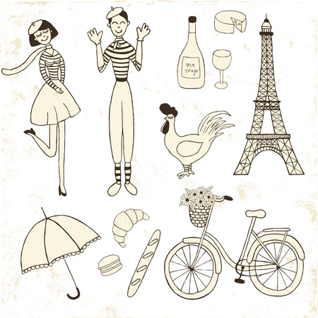 mime: set of Paris inspired vintage icons: french girl, mime, the eiffel tower, bicycle, macaron, croissant, cockerel Illustration