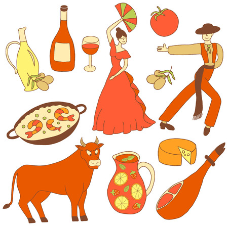 torero: vector set of icons inspired with Spain: cheese, olive oil, paella, sangria, flamenco dancers, bull, etc. Illustration