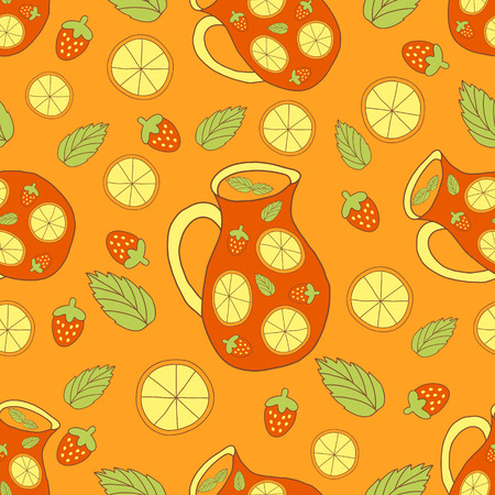 sangria: vector seamless pattern with images of traditional spanish drink - sangria, mint, oranges and strawberries Illustration