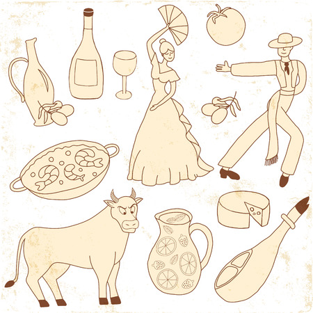torero: Set of vector icons inspired with Spain - flamenco dancers, olive oil, paella, bull, cheese. The set is created in scrapbooking style,there is a grunge texture on the icons. Illustration