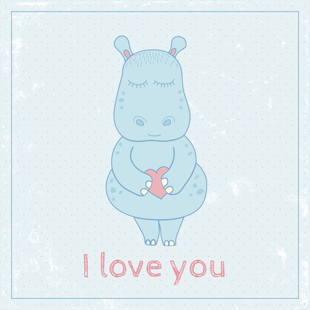 cute love: vector image of a cute little hippo holding in his hand a heart and I love you text