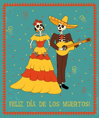 """trajes mexicanos: Vector del cartel en el estilo mexicano tradicional con el texto español se traduce como """"día muerto feliz"""""""