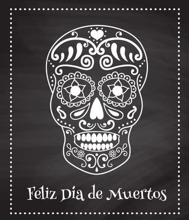 Vector poster with the image of traditional mexican skull and spanish text translated as happy dead day on a chalkboard background