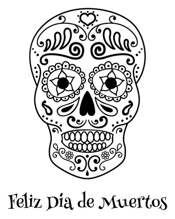 skull vector: Vector poster with the image of traditional mexican skull and spanish text translated as happy dead day on a white background