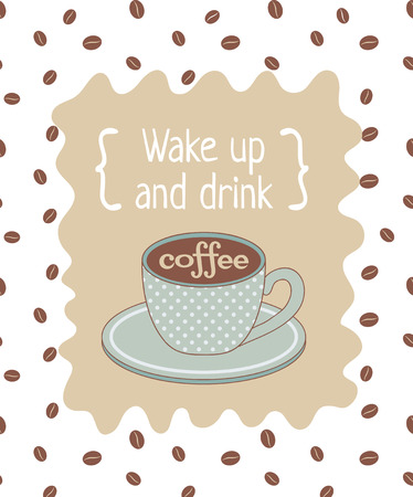 plackard: vector template of poster related to coffee theme with text Illustration