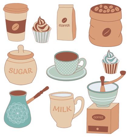 coffee bag: vector set of items to coffee theme: cup, cupcake, mill, sugar, milk, etc