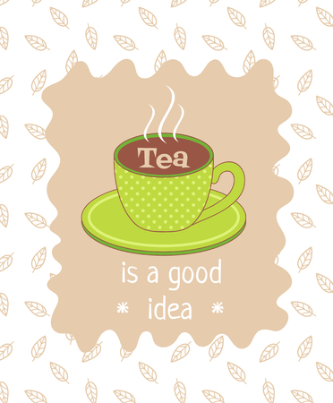 plackard: vector template of poster related to tea theme with text