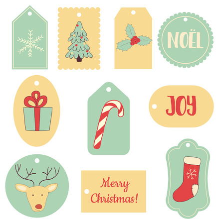 sugar cane: vector set of Christmas gift tags with images of deer, socks, gift, snowflake, sugar cane etc. Illustration