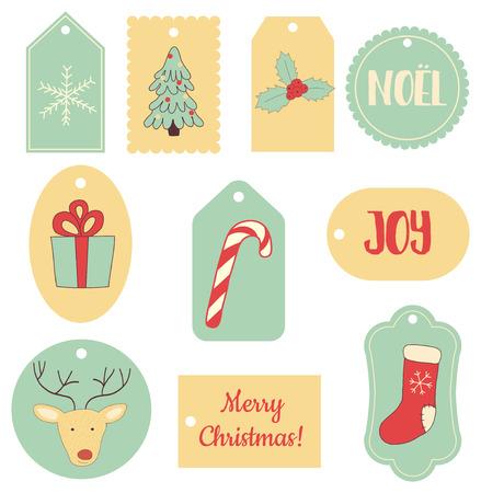 christmas sock: vector set of Christmas gift tags with images of deer, socks, gift, snowflake, sugar cane etc. Illustration