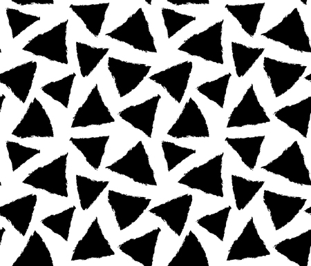 inky: vector seamless pattern with images of triangles with hand drawn inky effect