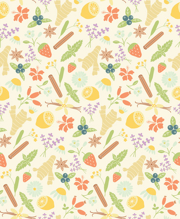 vanilla bean: vector seamless pattern with images of herbal ingredients: ginger, lemon, mint, cinnamon, jasmine, chamomile, hibiscus, linden, lavender, vanilla bean, star anise, strawberry, blueberry