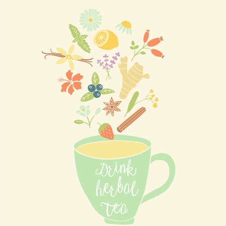 vector image of a cup with herbal ingredients: chamomile, lemon, mint, ginger, lavender, star anise, strawberry, blueberry, linden, rose hip, jasmine, vanilla bean and Drink herbal tea text