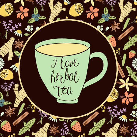 camomile tea: vector image of a cup with herbal ingredients: chamomile, lemon, mint, ginger, lavender, star anise, strawberry, blueberry, linden, rose hip, jasmine, vanilla bean on a dark background Illustration