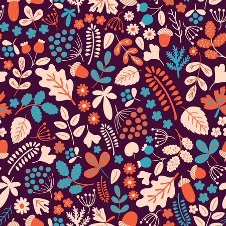 seson: vector seamless pattern with organic motives, autumn seson
