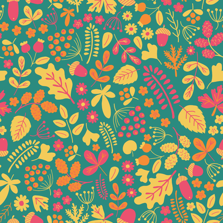 muted: vector seamless pattern in muted vintage colors, beautiful autumn organic motives