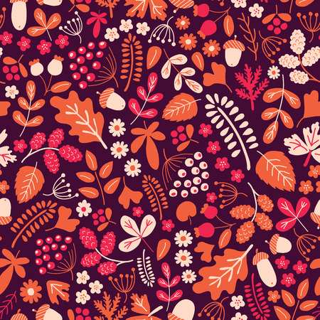 alder: vector seamless pattern with leaves, acorns, berries and other autumn motives
