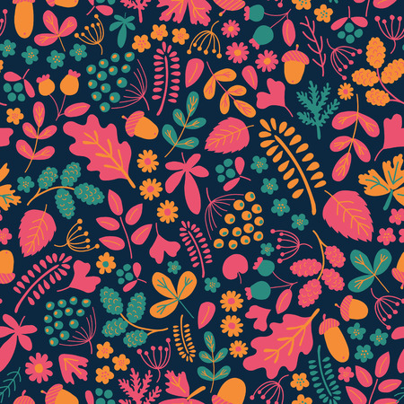 muted: vector seamless pattern with flowerls, leaves and berries