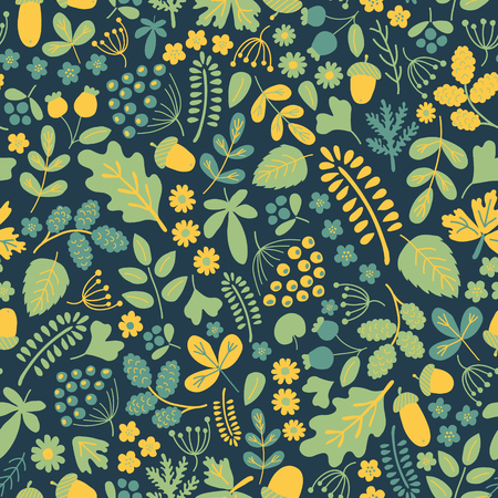 alder: vector semaless pattern with beautiful organic elements, tender green and yellow on intense blue Illustration