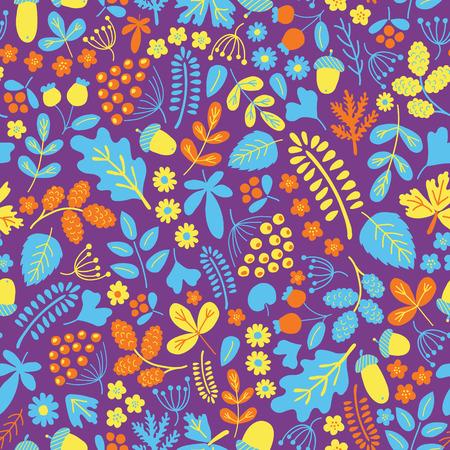 alder: vector seamless pattern with organic motives in vivid color scheme